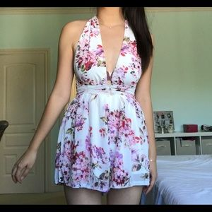 Choies Backless Pink Floral Romper